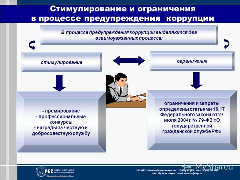 ЗАО « АКГ « Развитие бизнес-систем » тел.: +7 (495) 967 6838 факс: +7 (495) 967 6843 сайт: http://www.rbsys.ru e-mail: common@rbsys.ru Стимулирование и ограничения в процессе предупреждения коррупции В процессе предупреждения коррупции выделяются два