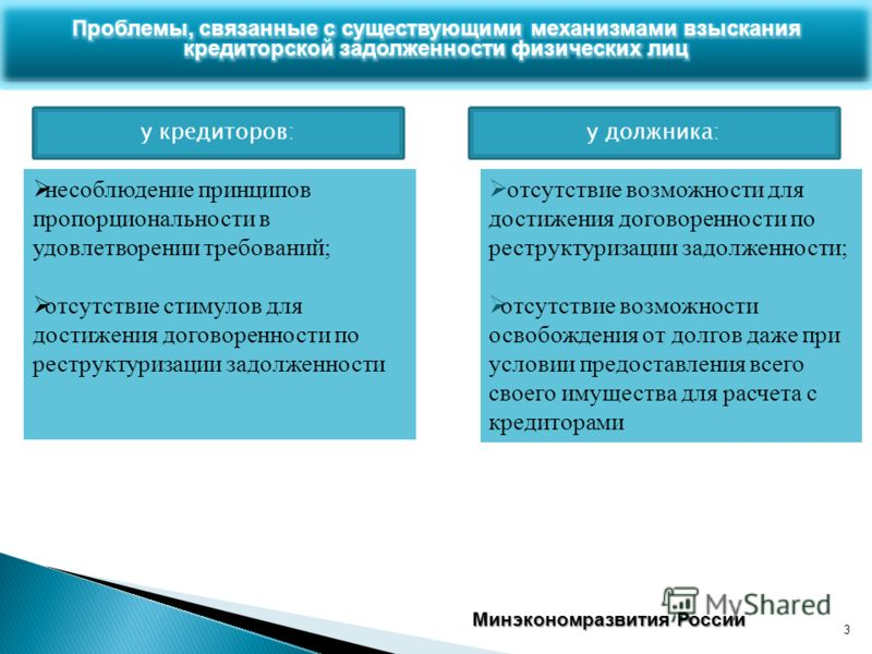 3 Минэкономразвития России несоблюдение принципов пропорциональности в удовлетворении требований; отсутствие стимулов для достижения договоренности по реструктуризации задолженности отсутствие возможности для достижения договоренности по реструктуриз