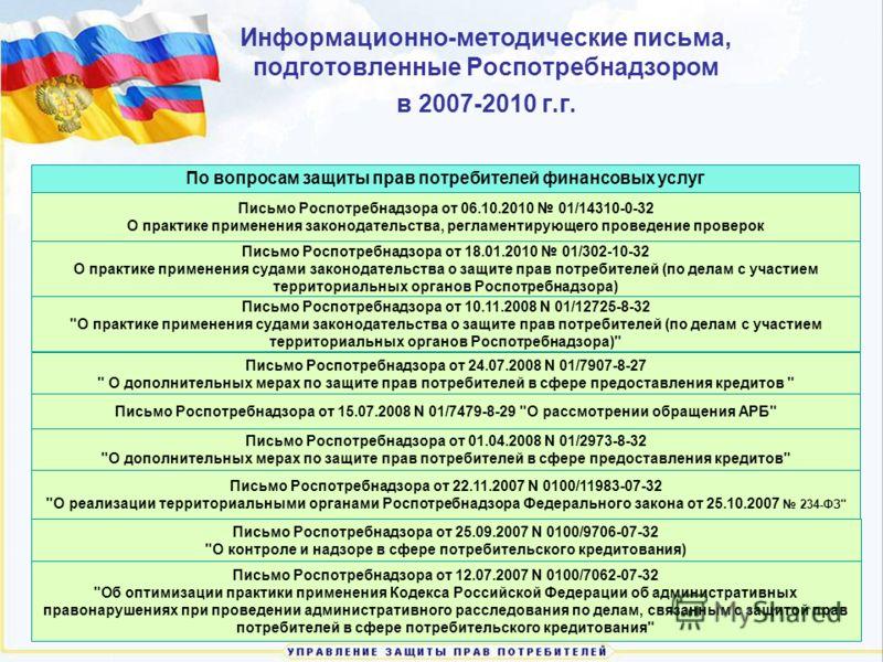 Информационно-методические письма, подготовленные Роспотребнадзором в 2007-2010 г.г. Письмо Роспотребнадзора от 01.04.2008 N 01/2973-8-32