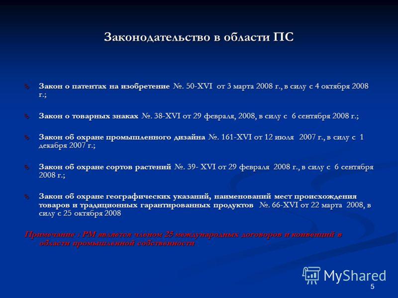 5 Закон о патентах на изобретение. 50-XVI от 3 марта 2008 г., в силу с 4 октября 2008 г.; Закон о патентах на изобретение. 50-XVI от 3 марта 2008 г., в силу с 4 октября 2008 г.; Закон о товарных знаках. 38-XVI от 29 февраля, 2008, в силу с 6 сентября