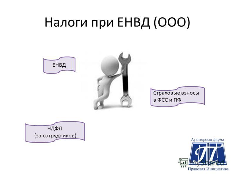 Налоги при ЕНВД (ООО) ЕНВД Страховые взносы в ФСС и ПФ НДФЛ (за сотрудников)