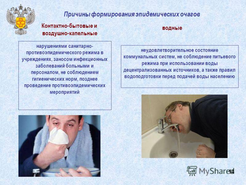 Причины формирования эпидемических очагов нарушениями санитарно- противоэпидемического режима в учреждениях, заносом инфекционных заболеваний больными и персоналом, не соблюдением гигиенических норм, позднее проведение противоэпидемических мероприяти