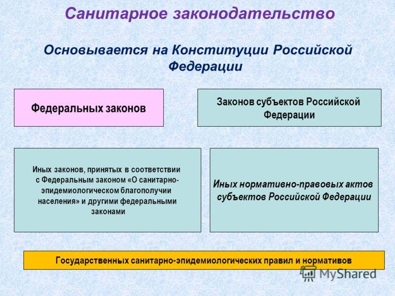 Санитарное законодательство Основывается на Конституции Российской Федерации Федеральных законов Иных законов, принятых в соответствии с Федеральным законом «О санитарно- эпидемиологическом благополучии населения» и другими федеральными законами Зако
