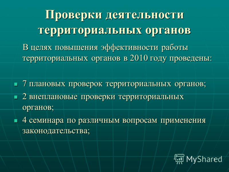 Проверки деятельности территориальных органов В целях повышения эффективности работы территориальных органов в 2010 году проведены: В целях повышения эффективности работы территориальных органов в 2010 году проведены: 7 плановых проверок территориаль