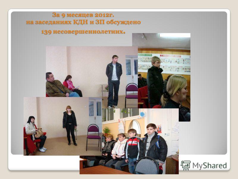 За 9 месяцев 2012г. на заседаниях КДН и ЗП обсуждено 139 несовершеннолетних.