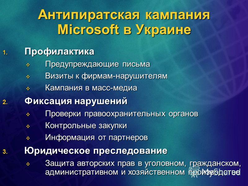 Антипиратская кампания Microsoft в Украине 1. Профилактика Предупреждающие письма Предупреждающие письма Визиты к фирмам-нарушителям Визиты к фирмам-нарушителям Кампания в масс-медиа Кампания в масс-медиа 2. Фиксация нарушений Проверки правоохранител