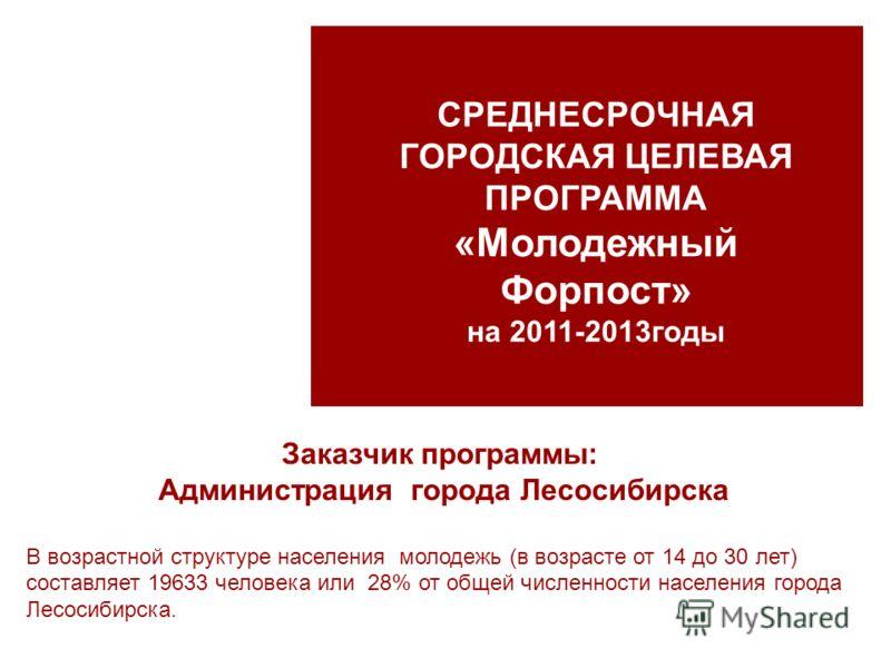Заказчик программы: Администрация города Лесосибирска В возрастной структуре населения молодежь (в возрасте от 14 до 30 лет) составляет 19633 человека или 28% от общей численности населения города Лесосибирска. СРЕДНЕСРОЧНАЯ ГОРОДСКАЯ ЦЕЛЕВАЯ ПРОГРАМ
