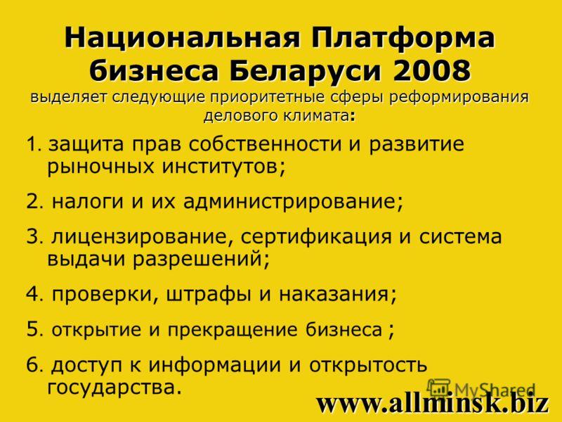 Национальная Платформа бизнеса Беларуси 2008 выделяет следующие приоритетные сферы реформирования делового климата: 1. защита прав собственности и развитие рыночных институтов; 2. налоги и их администрирование; 3. лицензирование, сертификация и систе