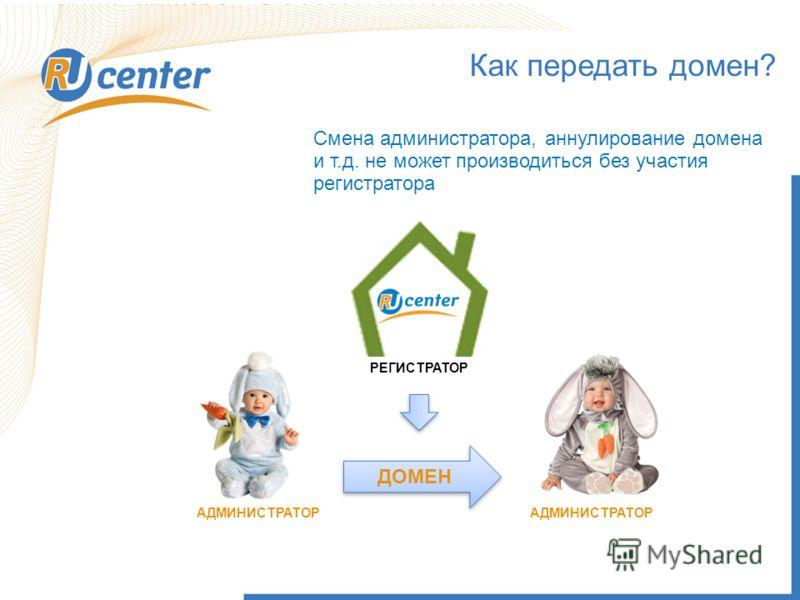 Правовые аспекты регистрации и использования доменов. Это должен знать каждый! Илья Федин, Ведущий специалист департамента регионального развития RU-CENTER Смена администратора, аннулирование домена и т.д. не может производиться без участия регистрат