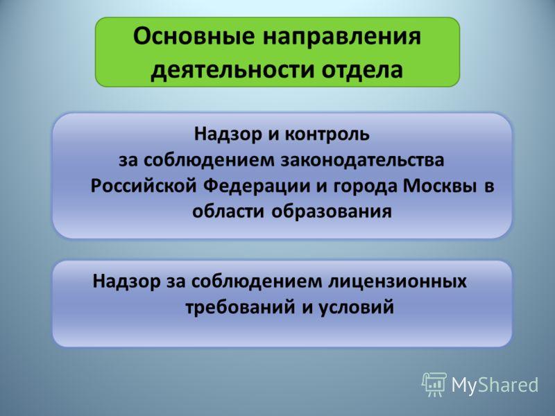 Основные направления деятельности отдела Надзор и контроль за соблюдением законодательства Российской Федерации и города Москвы в области образования Надзор за соблюдением лицензионных требований и условий