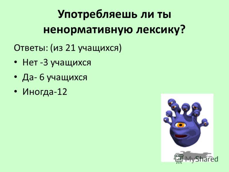 Употребляешь ли ты ненормативную лексику? Ответы: (из 21 учащихся) Нет -3 учащихся Да- 6 учащихся Иногда-12