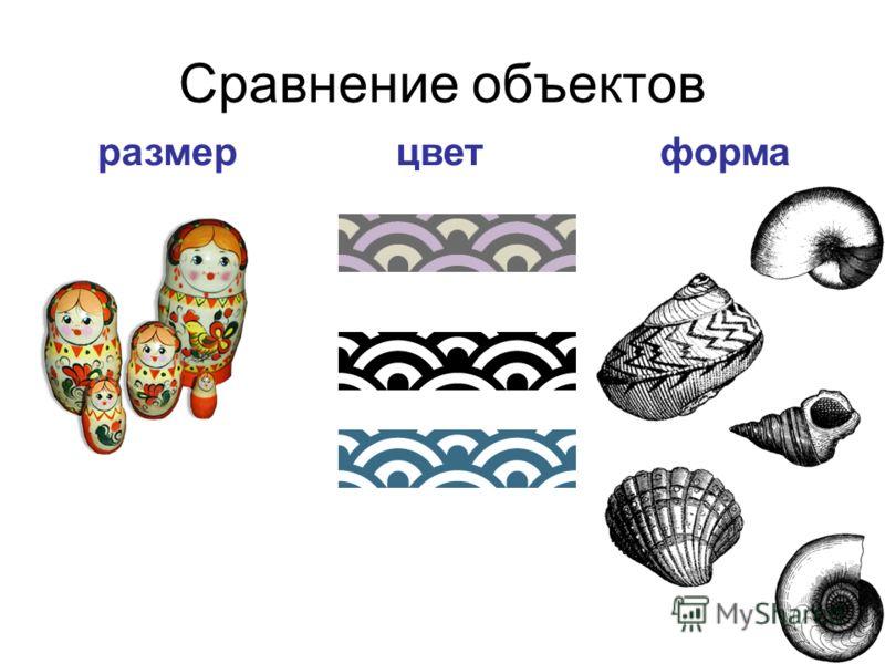 Сравнение объектов размерцветформа