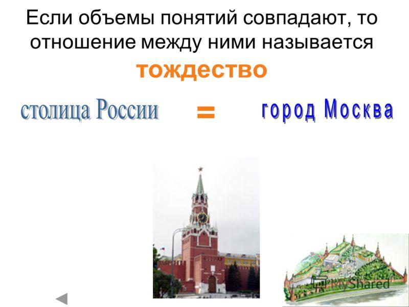 Если объемы понятий совпадают, то отношение между ними называется тождество =