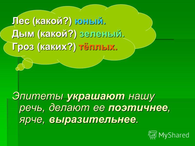 Лес (какой?) юный. Дым (какой?) зеленый. Гроз (каких?) тёплых. Эпитеты украшают нашу речь, делают ее поэтичнее, ярче, выразительнее.