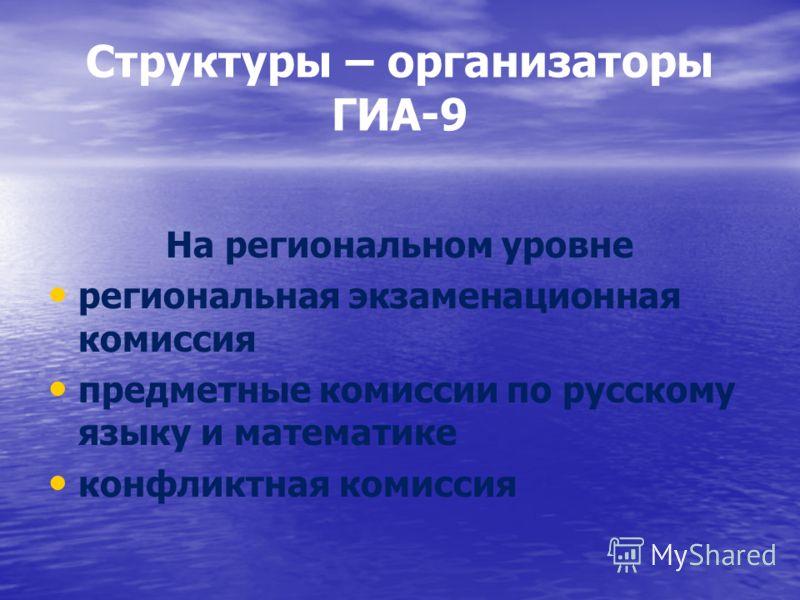 Структуры – организаторы ГИА-9 На региональном уровне региональная экзаменационная комиссия предметные комиссии по русскому языку и математике конфликтная комиссия