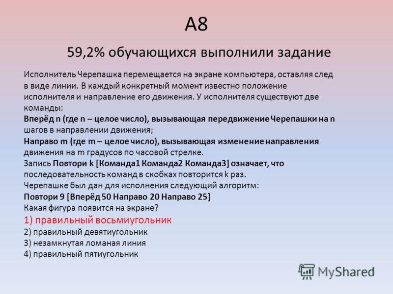 А8 59,2% обучающихся выполнили задание Исполнитель Черепашка перемещается на экране компьютера, оставляя след в виде линии. В каждый конкретный момент известно положение исполнителя и направление его движения. У исполнителя существуют две команды: Вп