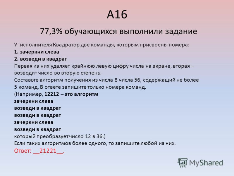 А16 77,3% обучающихся выполнили задание У исполнителя Квадратор две команды, которым присвоены номера: 1. зачеркни слева 2. возведи в квадрат Первая из них удаляет крайнюю левую цифру числа на экране, вторая – возводит число во вторую степень. Состав
