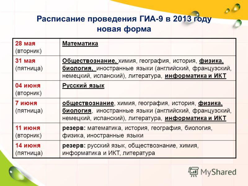 Расписание проведения ГИА-9 в 2013 году новая форма 28 мая (вторник) Математика 31 мая (пятница) Обществознание, химия, география, история, физика, биология, иностранные языки (английский, французский, немецкий, испанский), литература, информатика и