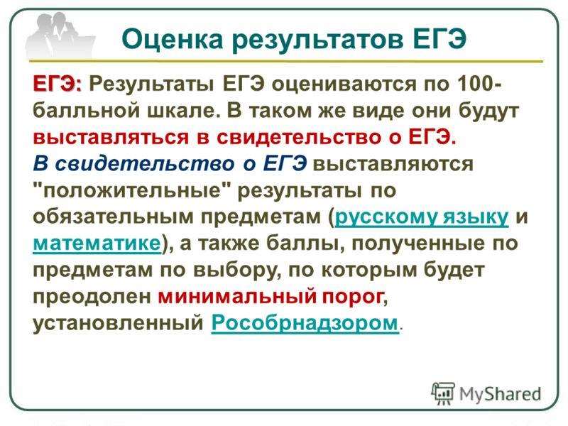 Оценка результатов ЕГЭ ЕГЭ: ЕГЭ: Результаты ЕГЭ оцениваются по 100- балльной шкале. В таком же виде они будут выставляться в свидетельство о ЕГЭ. В свидетельство о ЕГЭ выставляются