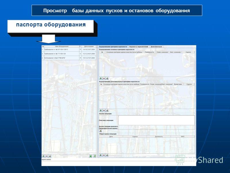 паспорта оборудования Просмотр базы данных пусков и остановов оборудования