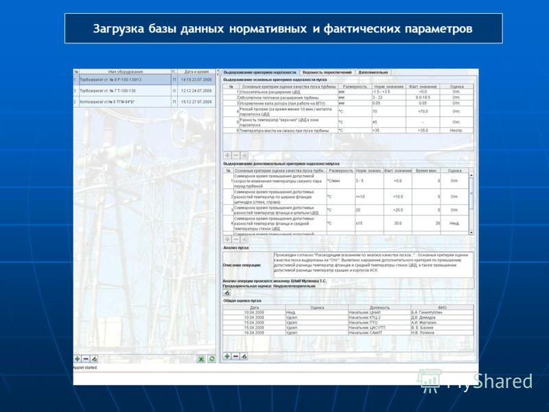 Загрузка базы данных нормативных и фактических параметров