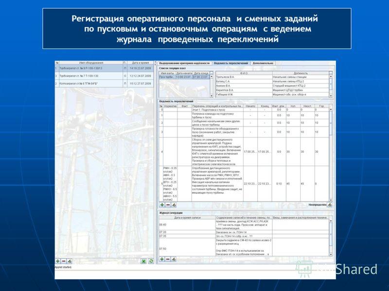 Регистрация оперативного персонала и сменных заданий по пусковым и остановочным операциям с ведением журнала проведенных переключений
