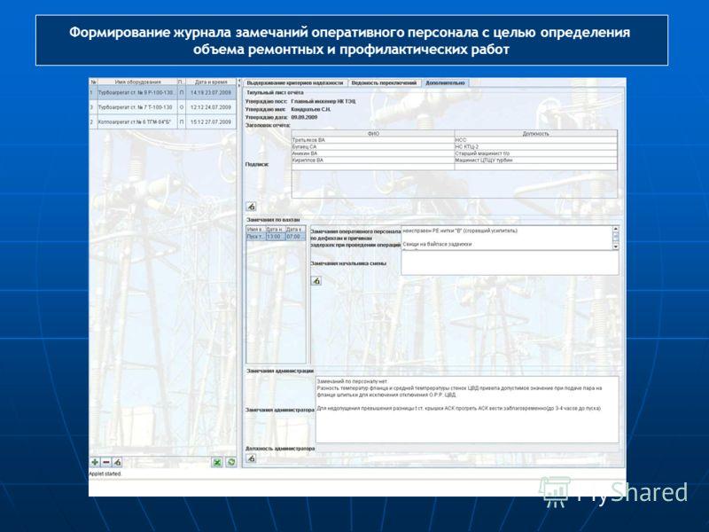 Формирование журнала замечаний оперативного персонала с целью определения объема ремонтных и профилактических работ