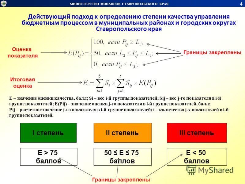 МИНИСТЕРСТВО ФИНАНСОВ СТАВРОПОЛЬСКОГО КРАЯ 4 E – значение оценки качества, балл; Si – вес i-й группы показателей; Sij – вес j-го показателя в i-й группе показателей; E(Pij) – значение оценки j-го показателя в i-й группе показателей, балл; Pij – расче