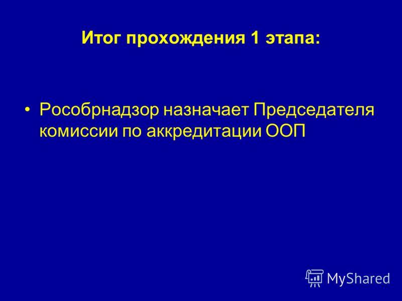Итог прохождения 1 этапа: Рособрнадзор назначает Председателя комиссии по аккредитации ООП
