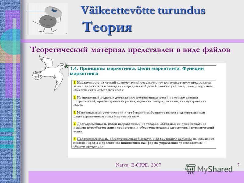 Narva. E-ÕPPE. 20077 Теория Väikeettevõtte turundus Теоретический материал представлен в виде файлов