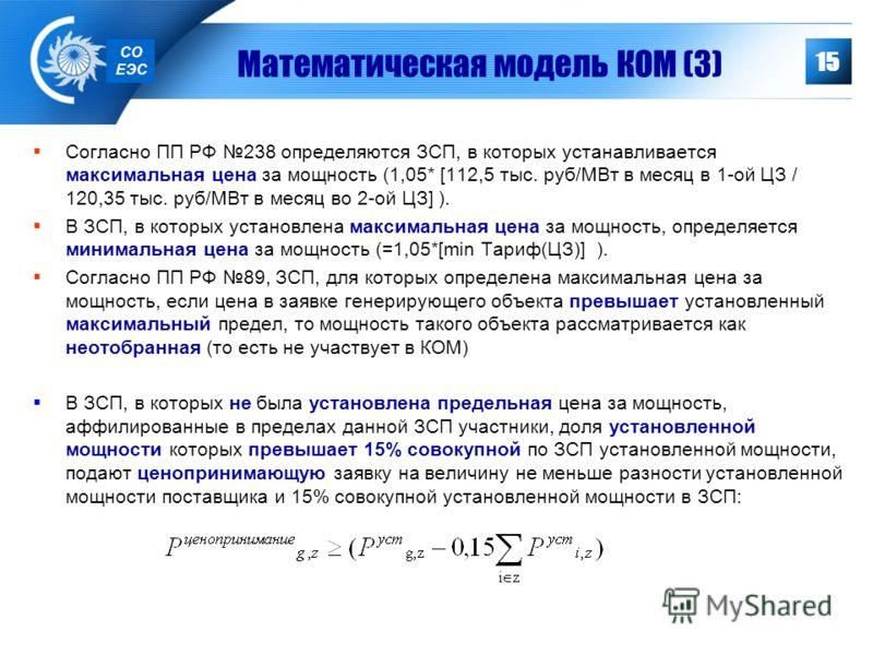 15 Согласно ПП РФ 238 определяются ЗСП, в которых устанавливается максимальная цена за мощность (1,05* [112,5 тыс. руб/МВт в месяц в 1-ой ЦЗ / 120,35 тыс. руб/МВт в месяц во 2-ой ЦЗ] ). В ЗСП, в которых установлена максимальная цена за мощность, опре