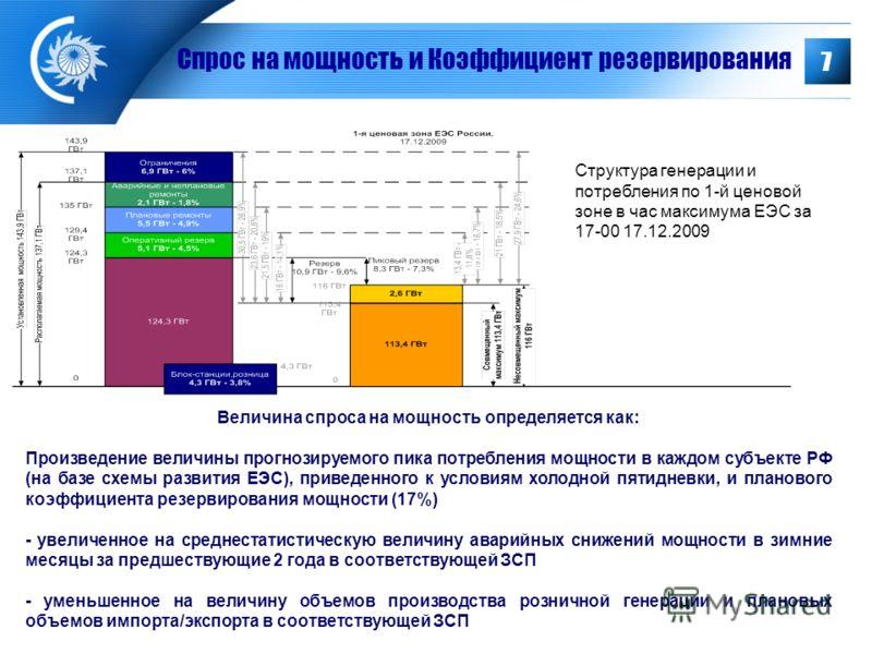 7 Величина спроса на мощность определяется как: Произведение величины прогнозируемого пика потребления мощности в каждом субъекте РФ (на базе схемы развития ЕЭС), приведенного к условиям холодной пятидневки, и планового коэффициента резервирования мо
