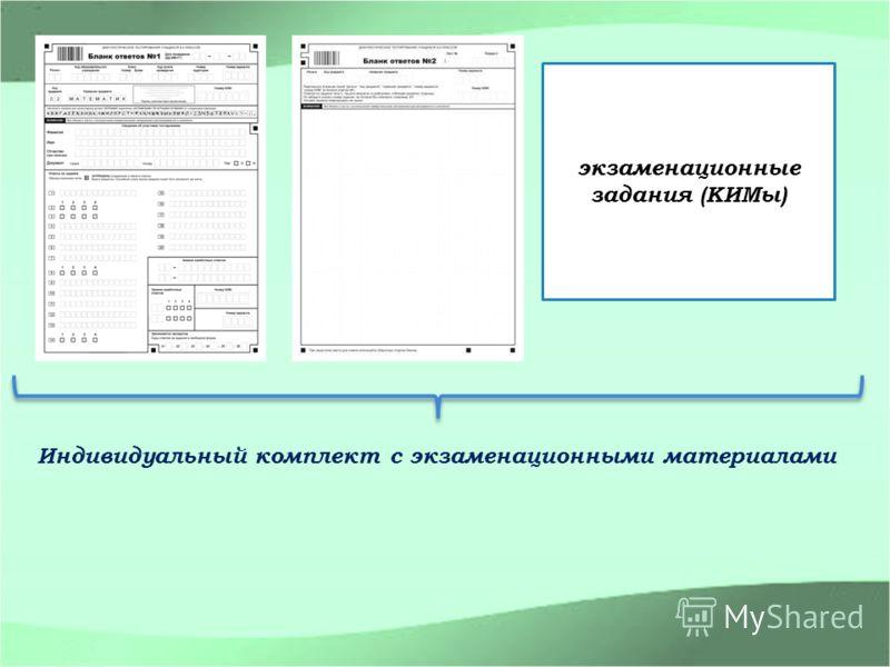 Индивидуальный комплект с экзаменационными материалами экзаменационные задания (КИМы)