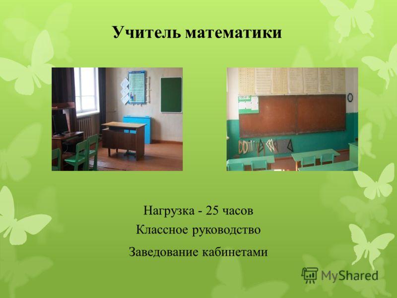 Учитель математики Нагрузка - 25 часов Классное руководство Заведование кабинетами
