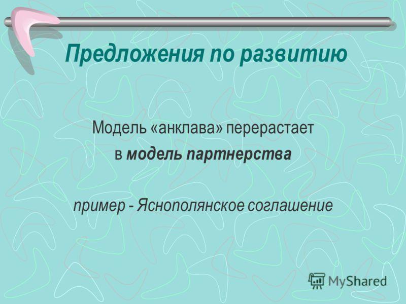 Предложения по развитию Модель «анклава» перерастает в модель партнерства пример - Яснополянское соглашение