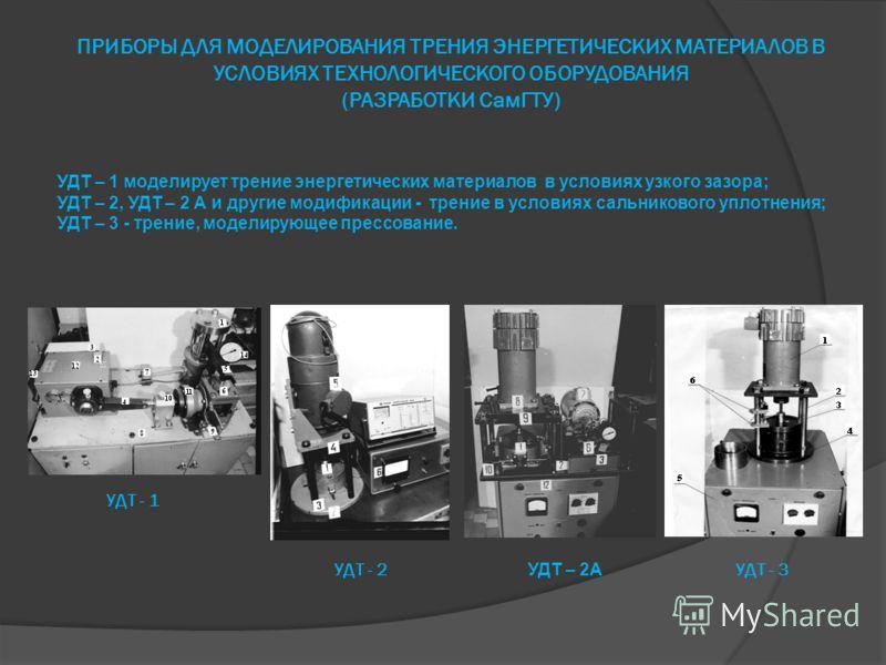 ПРИБОРЫ ДЛЯ МОДЕЛИРОВАНИЯ ТРЕНИЯ ЭНЕРГЕТИЧЕСКИХ МАТЕРИАЛОВ В УСЛОВИЯХ ТЕХНОЛОГИЧЕСКОГО ОБОРУДОВАНИЯ (РАЗРАБОТКИ СамГТУ) УДТ - 1 УДТ - 3УДТ - 2 УДТ – 2А УДТ – 1 моделирует трение энергетических материалов в условиях узкого зазора; УДТ – 2, УДТ – 2 А и