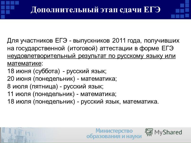 Дополнительный этап сдачи ЕГЭ Для участников ЕГЭ - выпускников 2011 года, получивших на государственной (итоговой) аттестации в форме ЕГЭ неудовлетворительный результат по русскому языку или математике: 18 июня (суббота) - русский язык; 20 июня (поне