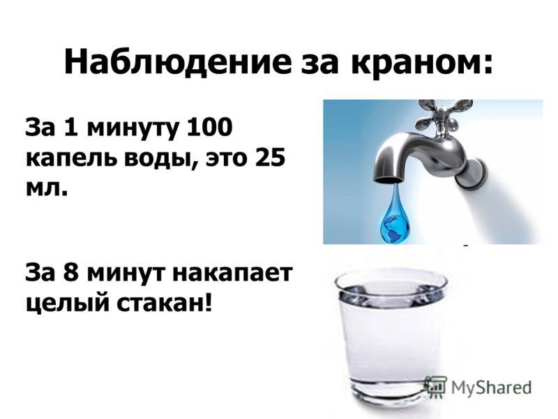 Наблюдение за краном: За 1 минуту 100 капель воды, это 25 мл. За 8 минут накапает целый стакан!