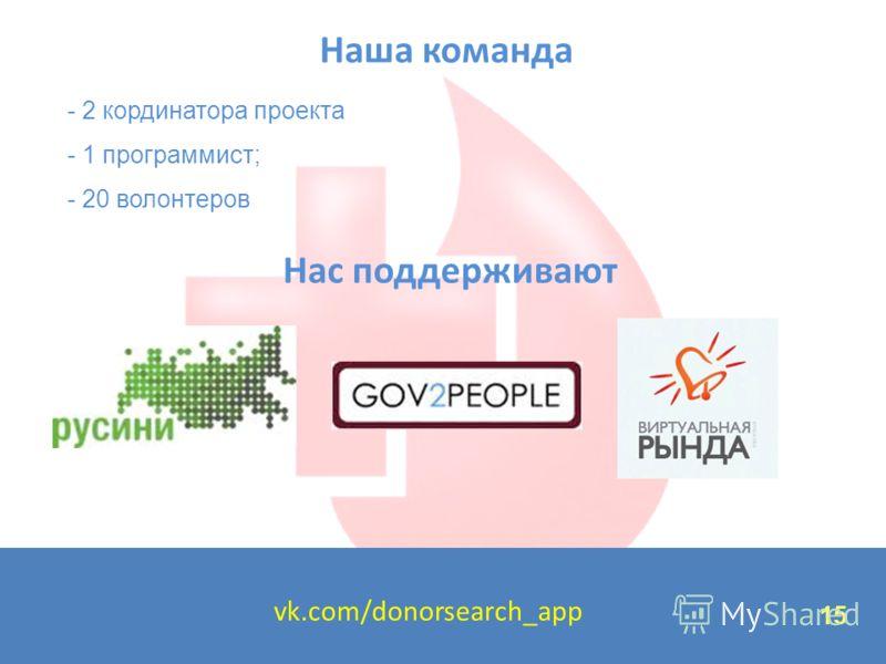 15 Наша команда 15 vk.com/donorsearch_app Нас поддерживают - 2 кординатора проекта - 1 программист; - 20 волонтеров