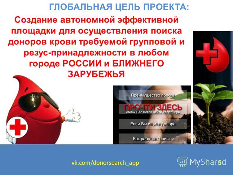 ГЛОБАЛЬНАЯ ЦЕЛЬ ПРОЕКТА: Создание автономной эффективной площадки для осуществления поиска доноров крови требуемой групповой и резус-принадлежности в любом городе РОССИИ и БЛИЖНЕГО ЗАРУБЕЖЬЯ vk.com/donorsearch_app 5