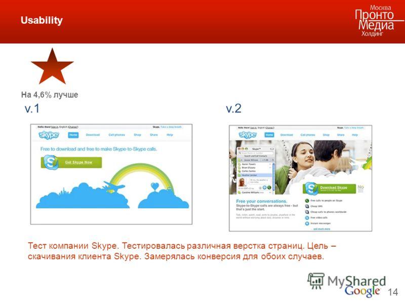 14 Usability Тест компании Skype. Тестировалась различная верстка страниц. Цель – скачивания клиента Skype. Замерялась конверсия для обоих случаев. На 4,6% лучше