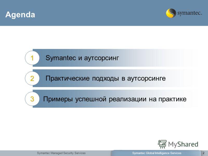 Symantec Managed Security ServicesSymantec Global Intelligence Services2 Agenda Symantec и аутсорсинг1 Практические подходы в аутсорсинге2 Примеры успешной реализации на практике3