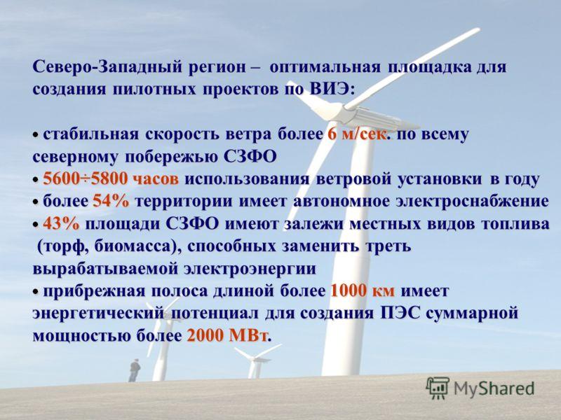 Северо-Западный регион – оптимальная площадка для создания пилотных проектов по ВИЭ: стабильная скорость ветра более 6 м/сек. по всему стабильная скорость ветра более 6 м/сек. по всему северному побережью СЗФО 5600÷5800 часов использования ветровой у