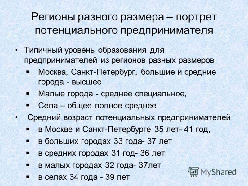 Регионы разного размера – портрет потенциального предпринимателя Типичный уровень образования для предпринимателей из регионов разных размеров Москва, Санкт-Петербург, большие и средние города - высшее Малые города - среднее специальное, Села – общее