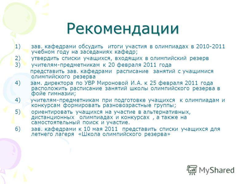 Рекомендации 1)зав. кафедрами обсудить итоги участия в олимпиадах в 2010-2011 учебном году на заседаниях кафедр; 2)утвердить списки учащихся, входящих в олимпийский резерв 3)учителям-предметникам к 20 февраля 2011 года представить зав. кафедрами расп