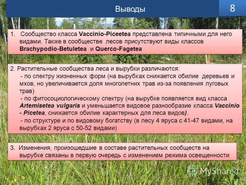 Выводы 8 8 1. Сообщество класса Vaccinio-Piceetea представлена типичными для него видами. Также в сообществе лесов присутствуют виды классов Brachypodio-Betuletea и Querco-Fagetea 2. Растительные сообщества леса и вырубки различаются: - по спектру жи