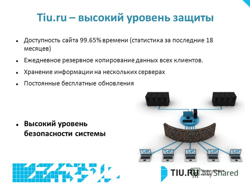 Доступность сайта 99.65% времени (статистика за последние 18 месяцев) Ежедневное резервное копирование данных всех клиентов. Хранение информации на нескольких серверах Постоянные бесплатные обновления Tiu.ru – высокий уровень защиты Высокий уровень б