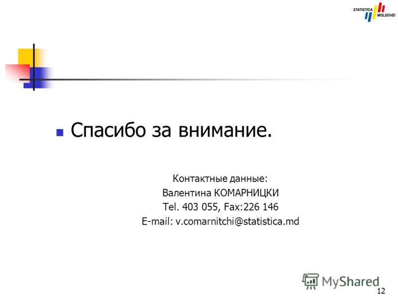 12 Спасибо за внимание. Контактные данные: Валентина КОМАРНИЦКИ Tel. 403 055, Fax:226 146 E-mail: v.comarnitchi@statistica.md