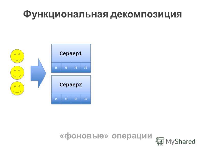 Функциональная декомпозиция Сервер1 JS Сервер2 JS «фоновые» операции