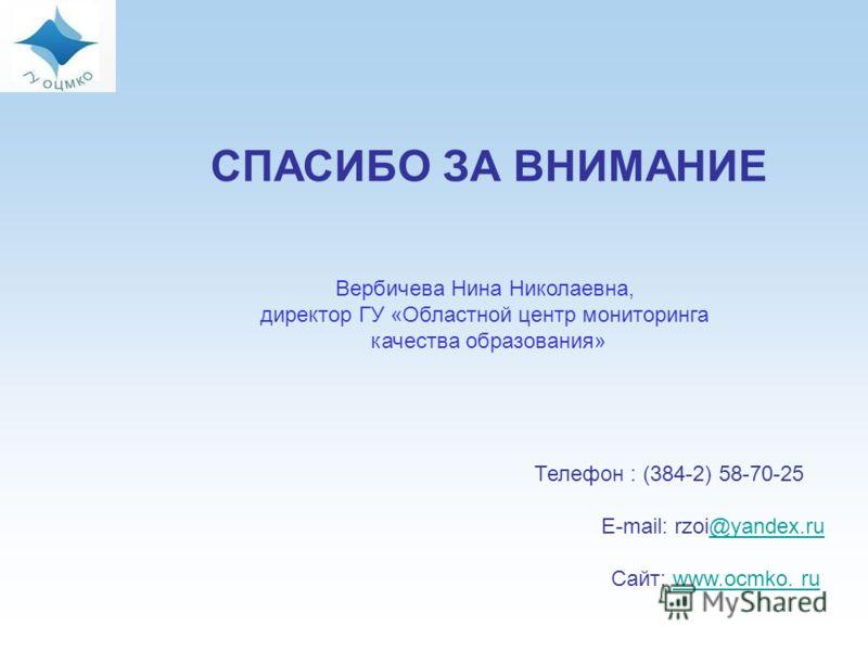 СПАСИБО ЗА ВНИМАНИЕ Телефон : (384-2) 58-70-25 E-mail: rzoi@yandex.ru@yandex.ru Сайт: www.ocmko. ruwww.ocmko. ru Вербичева Нина Николаевна, директор ГУ «Областной центр мониторинга качества образования»